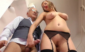 Perfect Busty Babe Eats Cum from the Balls Of This Old Gentleman