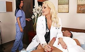 Horny Nurse Grabs Dudes Big Cock