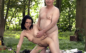 Little Whore Meets Old Grandpa in the Woods and Fucks Him and Eats His Cum
