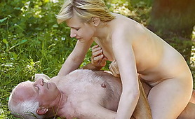 Nasty Blonde Swallows Cum by Old Grandpa in the Woods