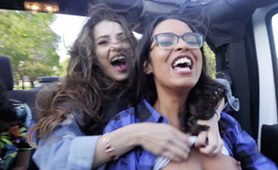 Sexy Girl in a Car with Full Crazy Enthusiasm and So Much Fun -  Hot Lesbian 3some