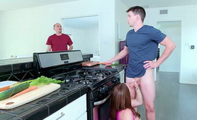 Busty MILF Kendra Lust Cheats Her Husband in the Kitchen by their Step Son