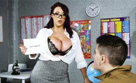Huge Melons Slutty MILF Teacher Seduces Young Man in School