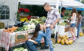 Cheating Wife Eva Lovia Starved for Cock on Farm Market