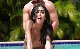 Latina Babe Sophia Leone Hardcore Fucking Behind in the Pool