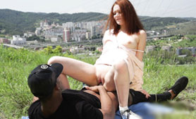 Amateur Redhead Girl Get Fucking at the Picnic with Her Black Lover