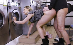 Her Favorite Place to Satisfy Her Pussy - XXX Laundry Sex
