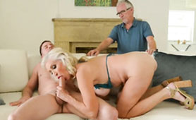 Slutty Granny Works Over Tough Young Dick in Front of Granddad