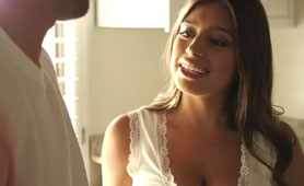 Natural Busty Latina Ella Knox All Face Covered by Warm Cum