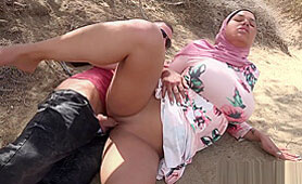 Muslim Wife with Nice Tits Has Sex in a Desert with a Stranger Soldier