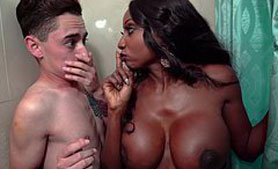 Ebony Stepmom Doesn't Know That She Will Be Fucked In a Few Moments