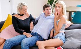 Curvy Stepmom Meets Girlfriend of her Son - Threesome FFM Porn