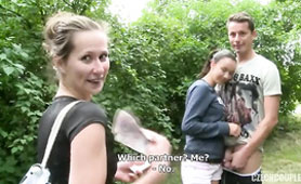 Amateur Czech Couple Gets Money For GF Swap at Public 4some