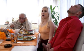 Dude Fucks GF and Her Busty Mom for a Family Thanksgiving Dinner