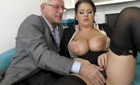 Big Boobed Secretary Fucked and Jizzed by Older Guy